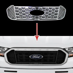 For 2019-2021 Ford Ranger Xl Xlt Chrome Grille Cover Overlay Front Grill Snap On