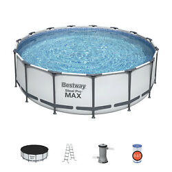 Bestway 15and039 X 48 Steel Pro Max Round Frame Above Ground Swimming Pool W/ Pump