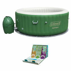 Coleman Saluspa 6 Person Inflatable Spa Jacuzzi + Spaguard Water Softening Kit