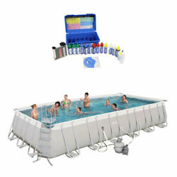 Bestway 24ft X 12ft X 52in Rectangular Frame Family Swimming Pool And Test Kit