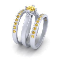 Round Cut 0.95cttw Yellow Diamond Solitaire Engagement Ring Set Eternity Bands