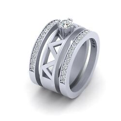 3pc Bridal Wedding Set Solitaire Diamond Engagement Ring Matching Eternity Bands