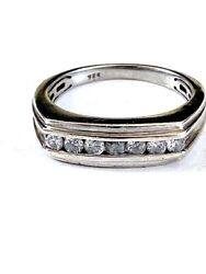 Fabulously Chic Diamond Band Menand039s Ring Size U Hallmarks Made In Eng Channel Set