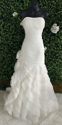 Allure Bridal 8765 Size 10 Ivory/silver Trumpet Flower Crystal Ruffle