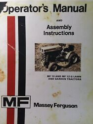 Massey Ferguson Mf/10 Mf/12 G Lawn Garden Tractor And 610 Mower Owners 2 Manuals