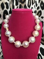 Luly Lu Oyster White Iridescent Lucite Ab Beaded Pearl Ball Necklace
