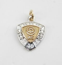 14k Gold With Diamonds Bell Telephone 40 Years Service Award Pendant Charm