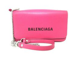 Auth BALENCIAGA Everyday 537387 Pink Leather Other Style Wallet