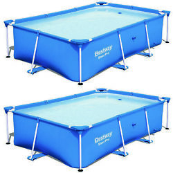 Bestway 8.5ft X 5.6ft X 2ft Pro Rectangular Above Ground Swimming Pool 2 Pack