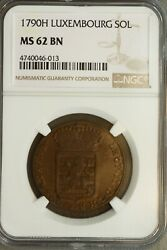 Luxembourg 1790 H Sol Ngc Ms62bn Top Pop 1/0 Scarce Grade For This Type