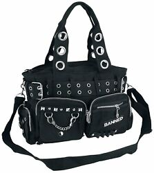Lost Queen Goth Punk Rock Black Military Belt Purse with Handcuff Skull Charm $53.95