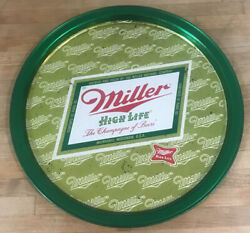 Miller High Life Beer Metal Plate Tray Green And Gold Milwaukee Wi