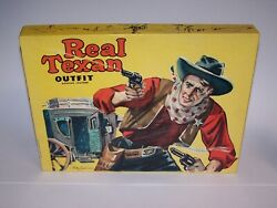 Vintage 1950and039s Real Texan Outfit Genuine Leather Childs Guns Playset Collectible