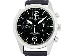 Bell And Ross Vintage Original Black Chronograph Br126-94-ss Ss Men's Watche6397