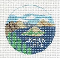 Crater Lake Natl. Park In Oregon Needlepoint Hp Canvas By Kathy Schenkel Rd.