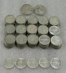Canada Lot Of 16.00 Face Value Silver Coins Quarters And Dimes