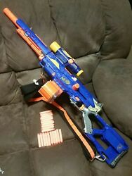 Nerf Long Strike Complete With Scope Strap And 18 Round Drum Magazine