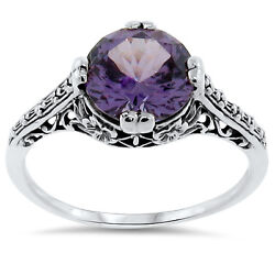 4 Ct Color Changing Lab Alexandrite Antique Style 925 Silver Ring Size 7 163