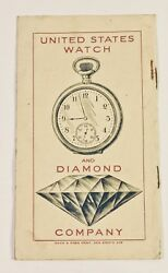 Antique Paper The United States Watch And Diamond Company Investment Booklet