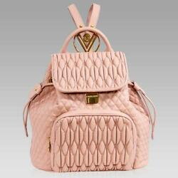 Valentino Orlandi Designer Large Backpack Nude Quilted Leather Bucket Bag Purse