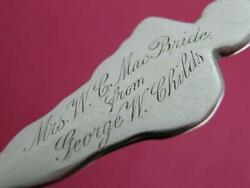 Rare Sterling Durgin Souvenir Spoon From George W Childs To Mrs W.c Mac Bride