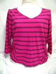 Crown And Ivy 1x Knit Shirt Authentic Tee Magenta And Black Striped Top