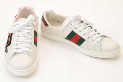 Gucci white green red 7 embroidered snake patch striped web sneaker shoe $670