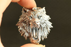 17g Chinese Solid S925 Silver Hand Cast Wolf Statue Pendant Necklace Netsuke