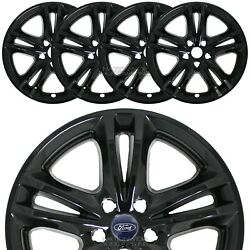 4 For 2015-2019 Ford Fusion 17 Snap On Black Wheel Skins Rim Covers Hub Caps