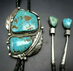Huge Vintage Navajo Sterling Silver Turquoise Bolo Tie With Matching Tips