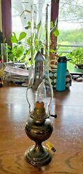Vtg Brass Metal Electric Table Lamp With Aladdin Glass Chimney Shade 19'' Tall