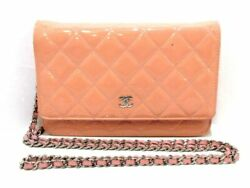 Auth CHANEL Matelasse A33814 PinkBeige Patent Leather Other Style Wallet