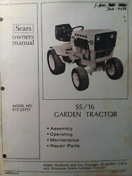 Sears Suburban Ss/16 Lawn Garden Tractor Owner And Parts Manual 917.25751 Onan Hp