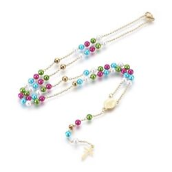 Stainless Steel Rosary Necklace Pearl Bead Virgin Mary Cross Gold Colors 18quot; P34