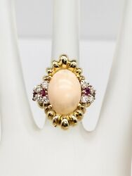 Antique 1950s 5000 8ct Coral Diamond Ruby 18k Yellow Gold Scallop Ring 15g Big