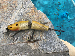 Creek Chub Jointed 6andrdquo Pikie Glass Eye Wood Lure In Tough Yellow Flash Color