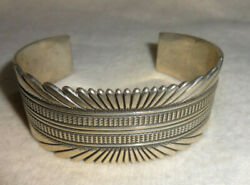 Vintage Ron Bedonie 925 Sterling Silver Navajo Made Cuff Bracelet Thick Heavy