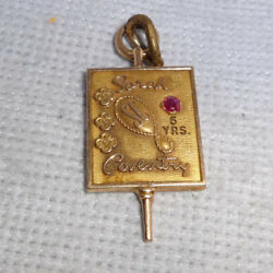 Vintage Sarah Coventry 5 Year 10 K Solid Gold Service Award Charm With Red Stone