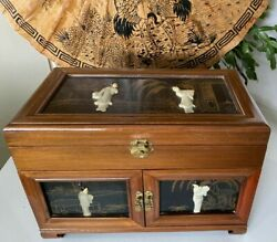 Asian Hand Carved Geishaand039s On Wooden Hand Painted Jewelry Chest Metal Hardware