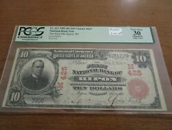 Large Size Wisconsin National Currency 10 Note 1st Nb Ripon Pcgs Vf 30 Red Seal