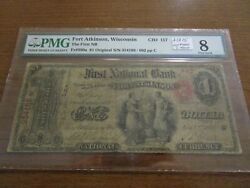 Large Size Wisconsin National Currency 1 Note Original Charter Fort Atkinson