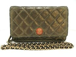 Auth CHANEL Matelasse Gold Metallic Leather Other Style Wallet