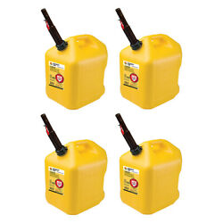 Midwest Can Company 5 Gallon Diesel Can Fuel Container W/ Auto Shut Off 4 Pack