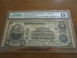 Large Size Wisconsin National Currency 5 Note Lumbermen's Nb Chippewa Falls