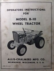 Allis Chalmers Early B-10 Lawn Garden Tractor Owner And Service Manual Briggs 9hp