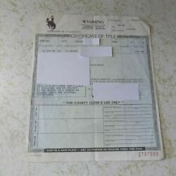 1970 Ford Mercury Cyclone Wyoming Car Title Collectible Historical Document