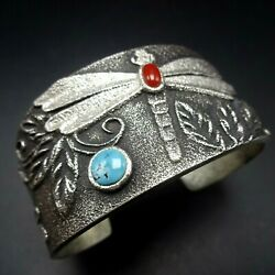 Rebecca Begay Tufa Cast Dragonfly Sterling Silver Coral Turquoise Cuff Bracelet