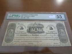 Wisconsin Obsolete Currency 50 Note Territory Of Wisconsin Pmg 55