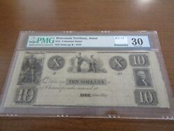 Wisconsin Obsolete Currency 10 Note Wisconsin Territory Green Bay Astor Pmg 30