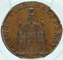1794 England Uk Sussex Elizabeth Cathedral Old Conder 1/2 Penny Coin Pcgs I84262